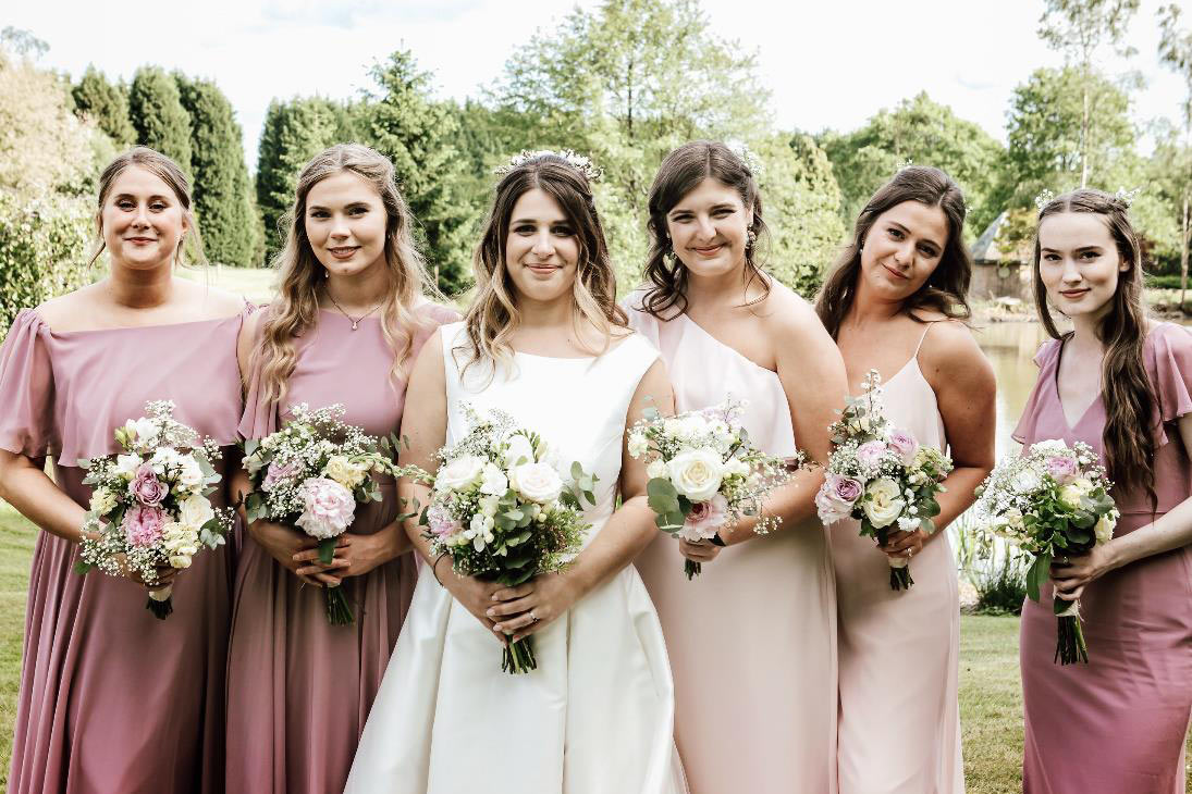 Dessy Real Wedding - Blush and Dusty Rose Dresses - Abigail White Photography