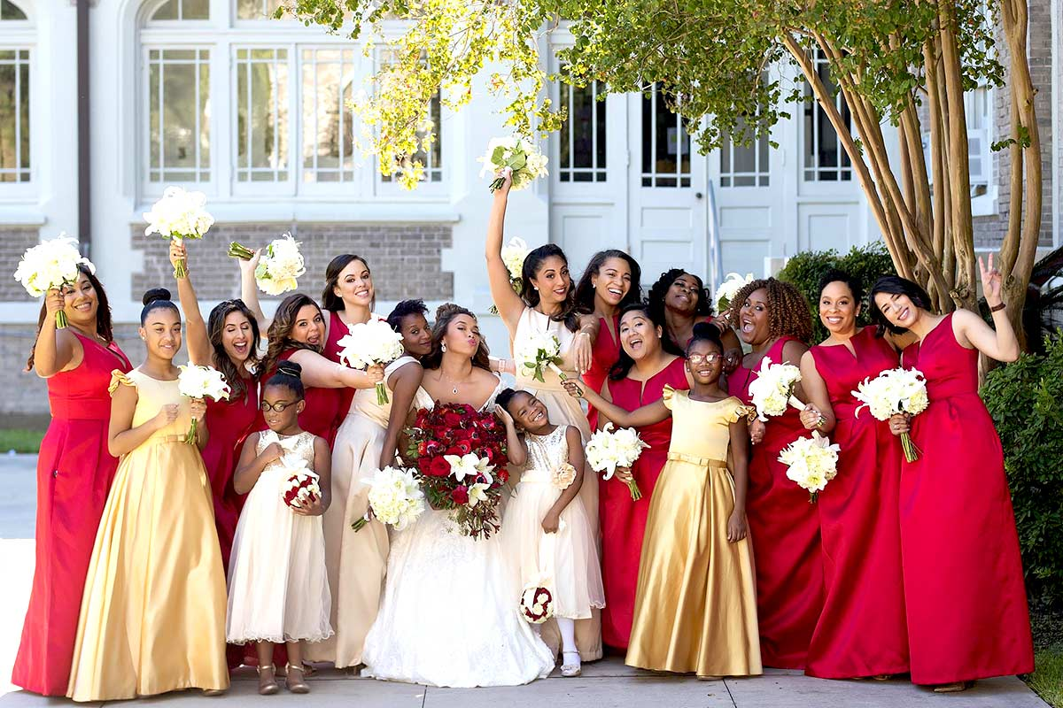 flame red bridesmaid dresses - Dessy Real Wedding