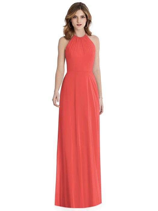 Coral Halter Open Tie-Back Bridesmaid Dress