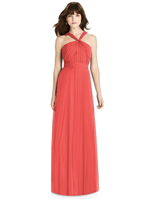Coral Twist Halter Chiffon Bridesmaid Dress