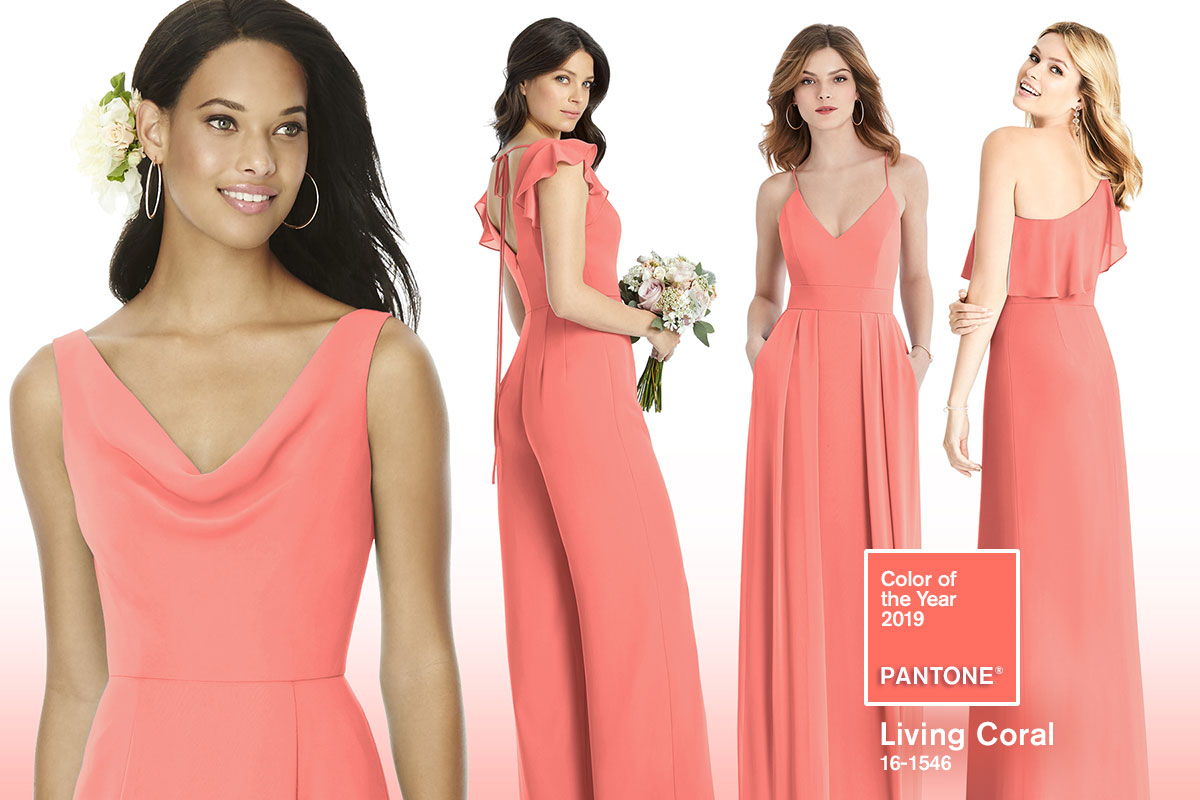 Pantone Color of The Year 2019 - Living Coral Bridesmaid Dresses