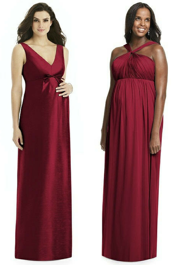 maternity burgundy bridesmaid dresses