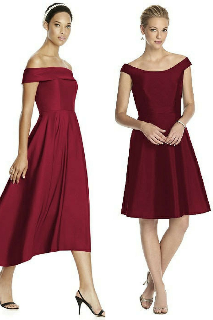 short burgundy bridesmaid dresses