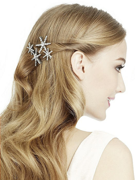 silver crystal jeweled hair clip