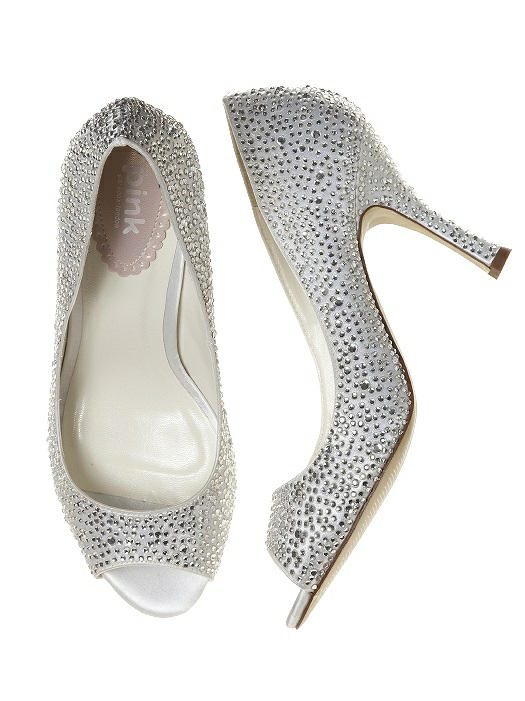 silver ballet flats with crystal jeweled shoe clip
