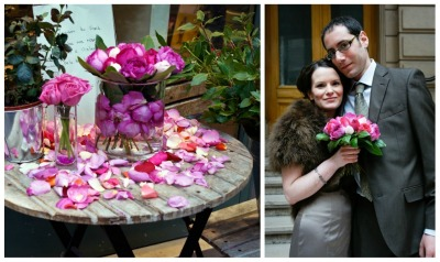 bride in coffee coloured cocktail dress with pink peony wedding bouquet