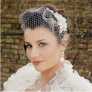 Bride with birdcage veil and updo