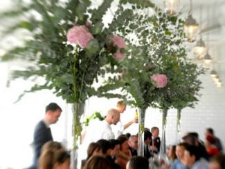 Pink Hydrangea and Eucalyptus in tall vases