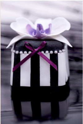 black and white striped mini cake