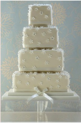 square flower tier wedding cake