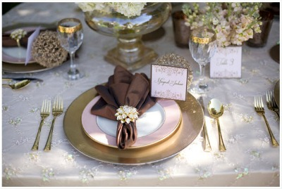 brown and pink table setting