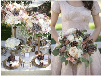 brown, white and cream wedding flowers