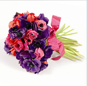 pink and purple anenome bouquet