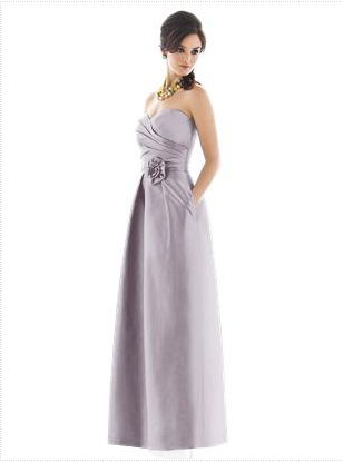 lilac strapless satin bridesmaid dress