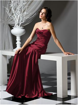 deep red long strapless bridesmaid dress