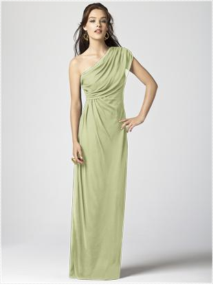 one shoulder pale green bridesmaid dress