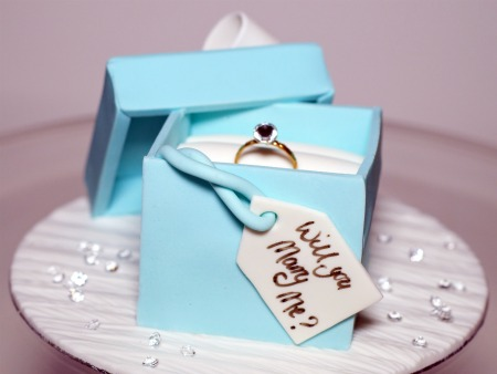 blue engagement ring box made from icing sugar