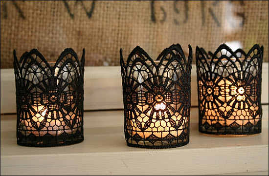 Wedding Reception Centerpiece: DIY Lace Candles