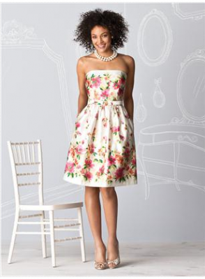 floral short bridesmaid dress by Dessy