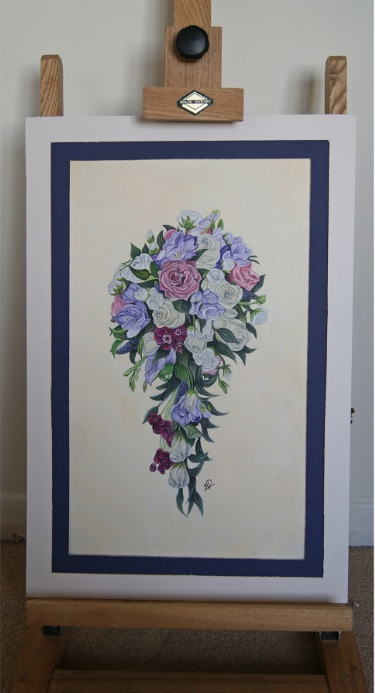painting of a wedding bouquet on easel