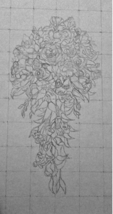 wedding bouquet pencil sketch