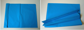 tissue paper sheets in blue
