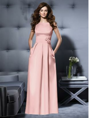 long pink satin bridesmaid dress by Dessy
