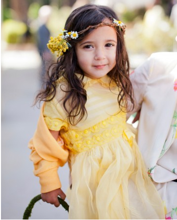 flowergirls at wedding in lemon yellow