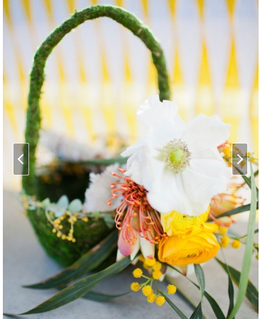 moss flower baskets for flowergirls