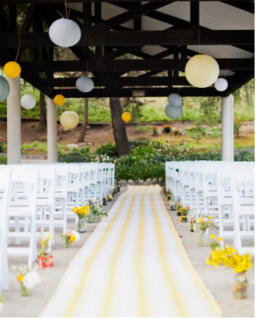 lemon yellow wedding aisle