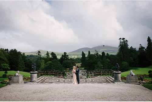 Bride and groom in front of Wicklow mountains