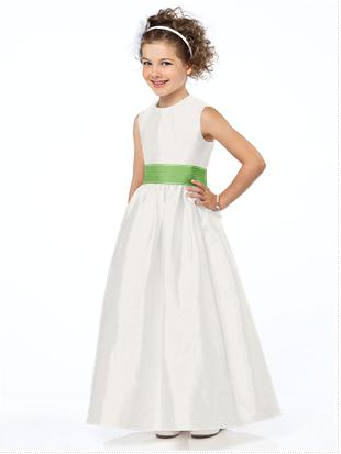 Flowergirl dress with apple green sash for wedding theme