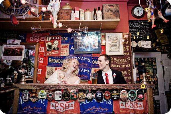 bride and groom at the pub