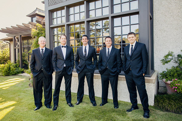 groom and groomsmen in black