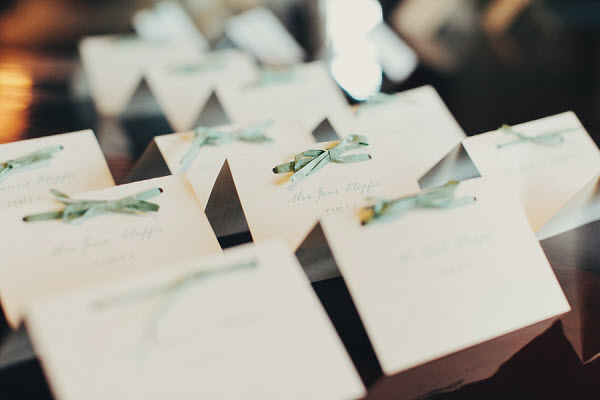 green and white place cards