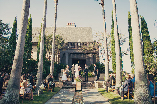 bride and groom palm tree aisle