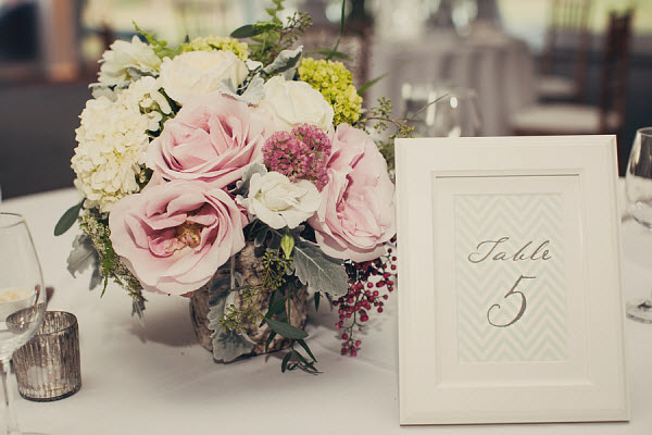 flower centerpiece and table number