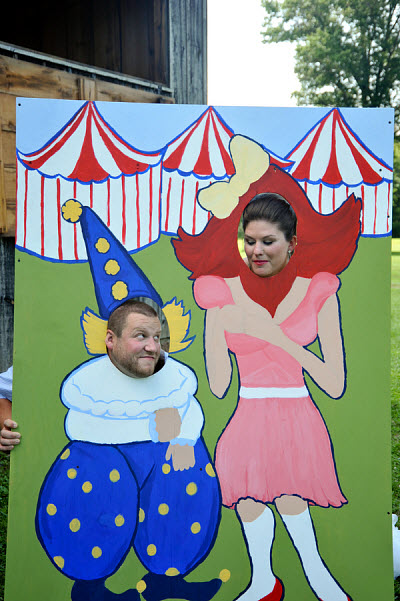 bride and groom carnival wedding