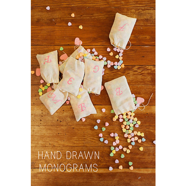 DIY Wedding Favor: Hand Drawn Monogram Bags