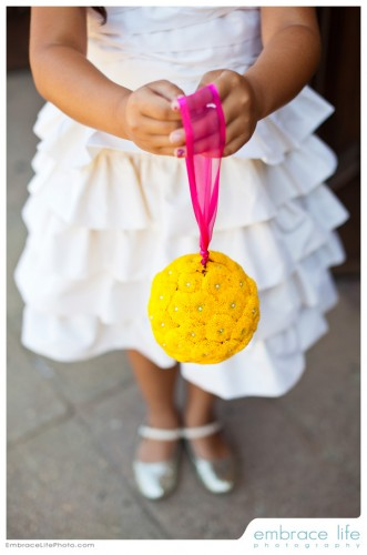 flowergirl with yellow pomander