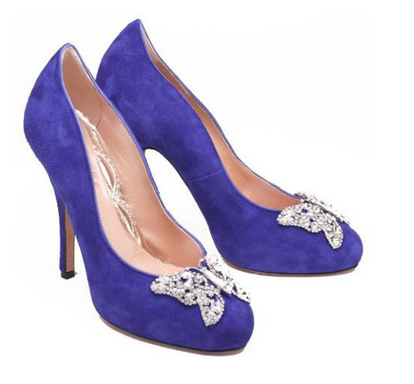 purple high heeled shoes with diamante detail