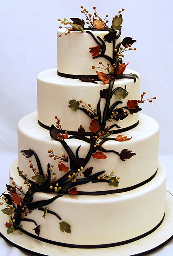 Fall Wedding Cake with Brown Stack Icing