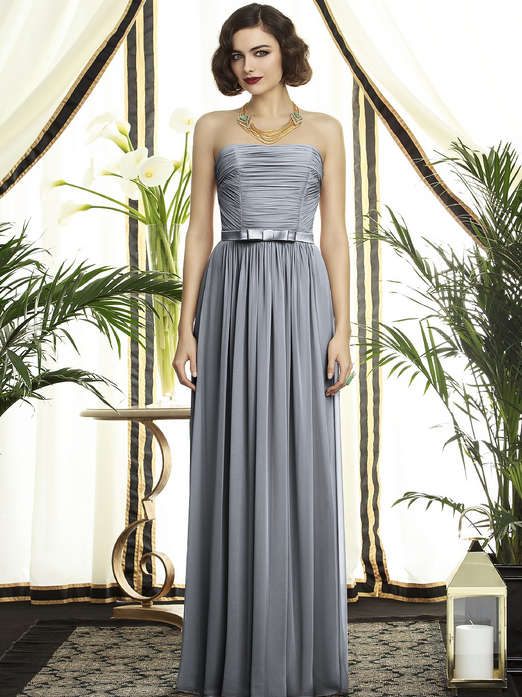 Dessy strapless silver bridesmaid dress