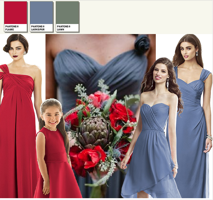 wedding moodboard in grey and red