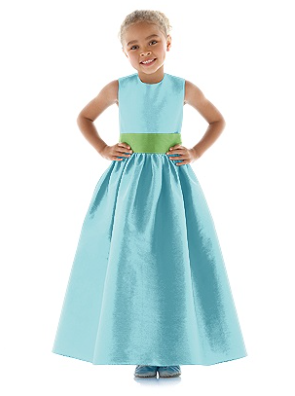 Aquamarine flower girl dress FL 4024 with Appletini sash