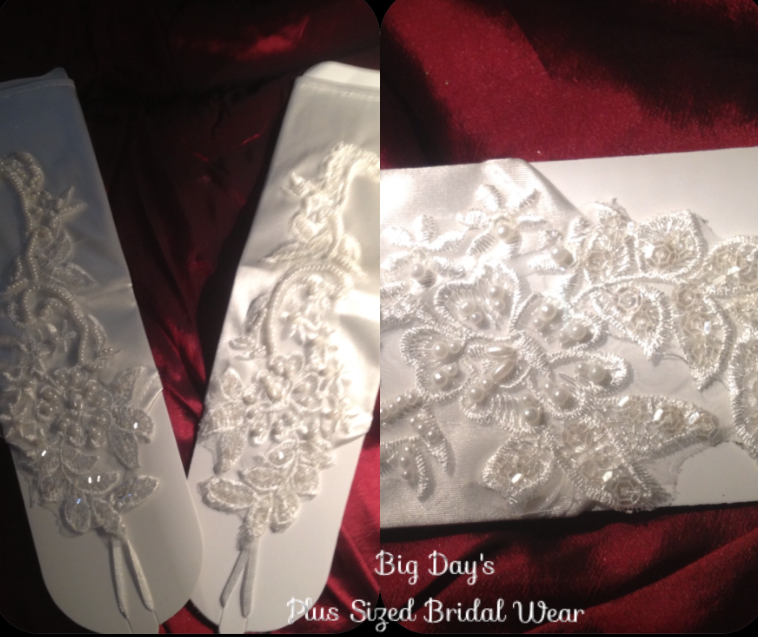 Satin and Pearl Wedding Gloves