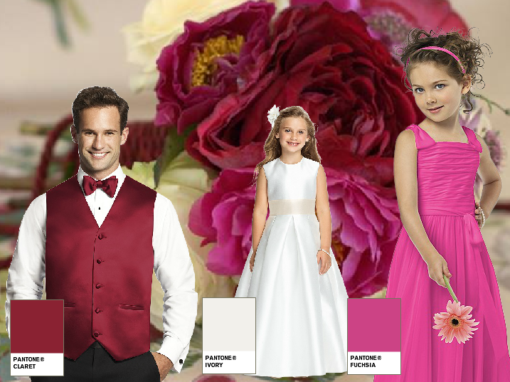 Hot pink and red groom and flower girl wedding colours