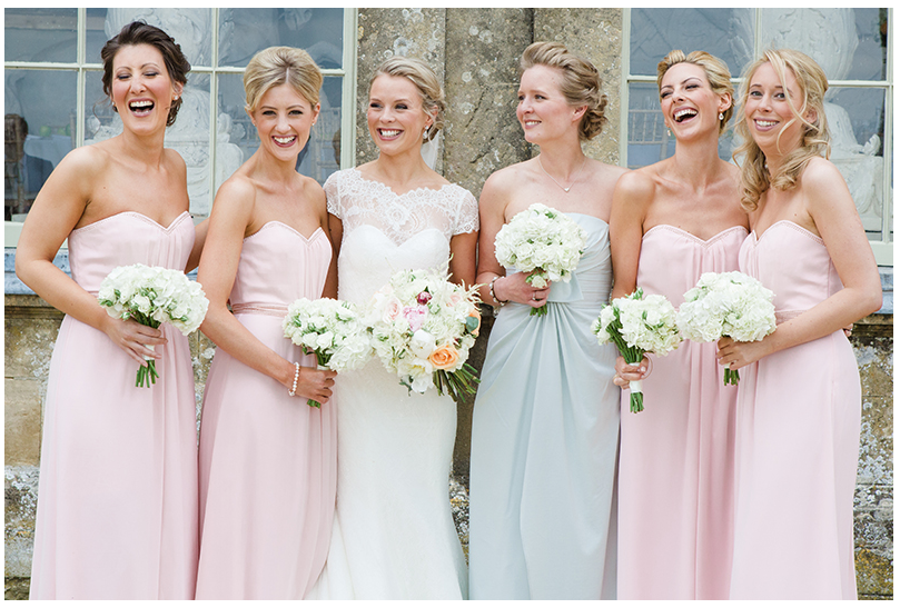 mix and match bridesmaid gowns with Celadon