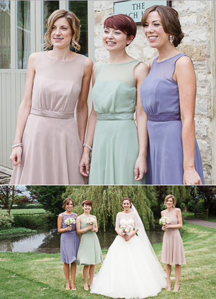 mix and match bridesmaid dresses with celadon